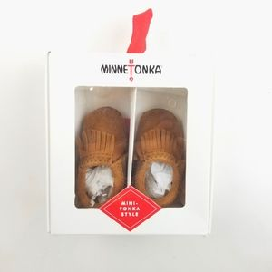 New Born Minnetonka Leather Brown Moccasin